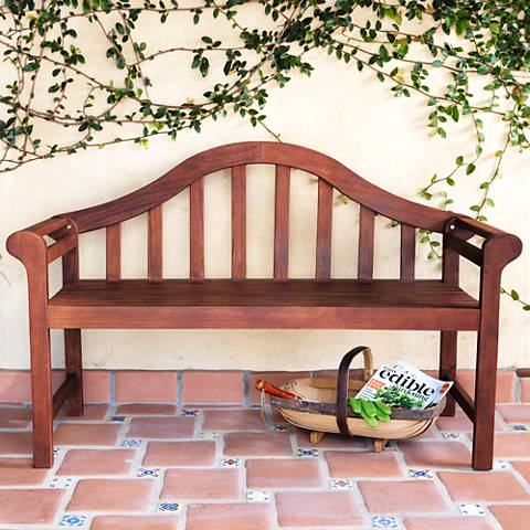 "Concorde 53"" Wide Dark Natural Acacia Wood Outdoor Bench"
