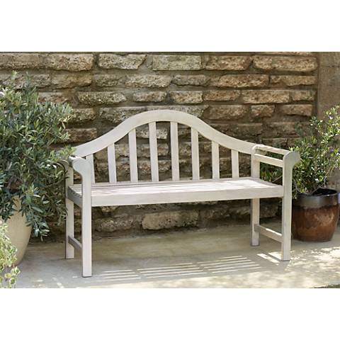 "Concorde 53"" Wide Antique White Acacia Wood Outdoor Bench"