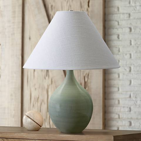 "Scatchard Stoneware 19"" High Celadon Green Accent Table Lamp"