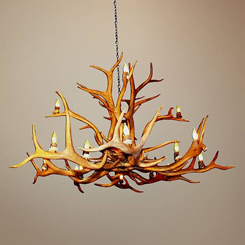 "Antler 52-54""W Reproduction Elk 15-Light Chandelier"