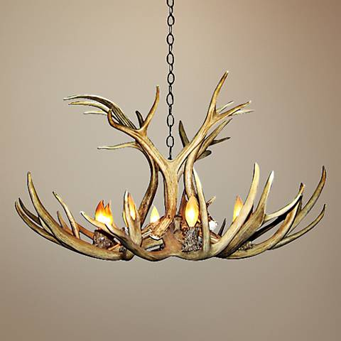 "Antler 29"" Wide Natural-Shed Mule Deer 6-Light Chandelier"