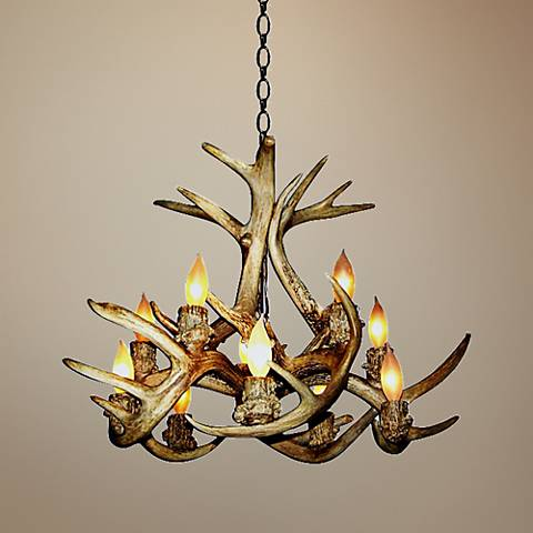 "Antler 24-25""W Natural-Shed Whitetail 10-Light Chandelier"