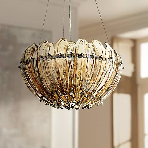 "Aerie 19"" Wide Small Lotus Cognac Glass Pendant Light"