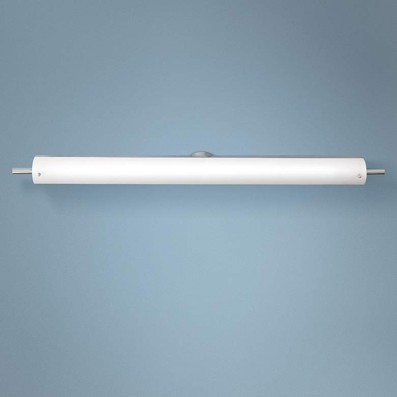 "Vail 42"" Wide Brushed Steel Opal Glass LED Bath Light"