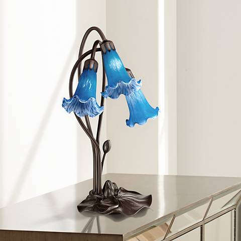 "Blue Lily Flower 17"" High LED Accent Table Lamp"
