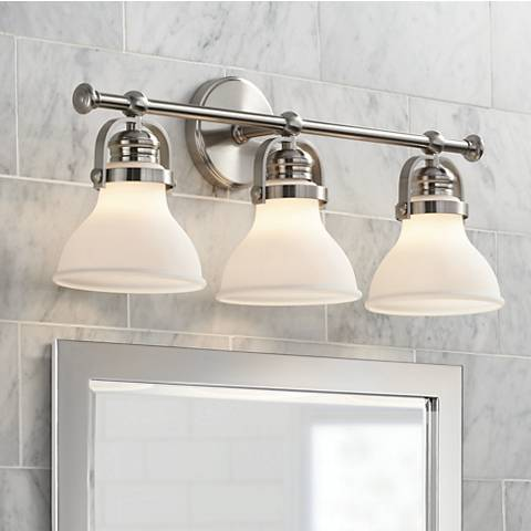 "Possini Euro Olsen 24"" Wide Satin Nickel 3-Light Bath Light"