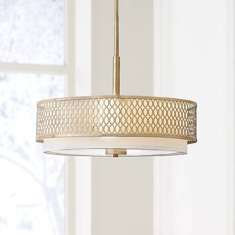 "Fredrick Ramond Jules 21""W Ovals Gold Drum Pendant Light"