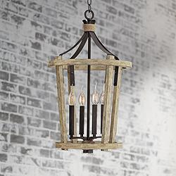 "Fredrick Ramond Sherwood 15""W Cottage Wood Pendant Light"