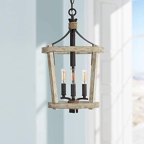 "Fredrick Ramond Sherwood 12""W Cottage Wood Mini Pendant"