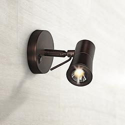"Cyprus II Bronze Adjustable 4 3/4"" High LED Plug-In Sconce"