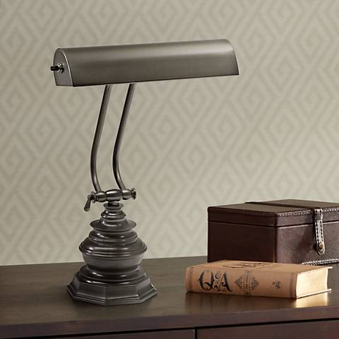 "House of Troy Octagon 14""H Mahogany Bronze Piano Desk Lamp"