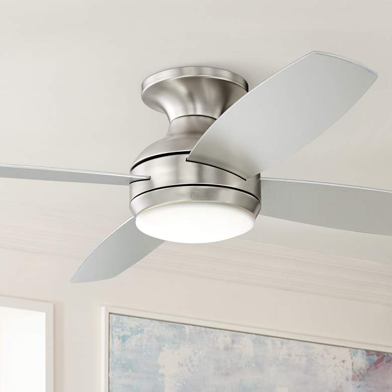 "52"" Casa Elite™ Brushed Nickel LED Hugger Ceiling"