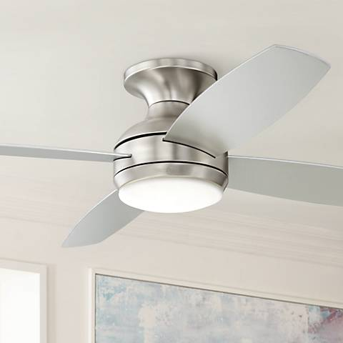 "52"" Casa Elite™ Brushed Nickel LED Hugger Ceiling Fan"