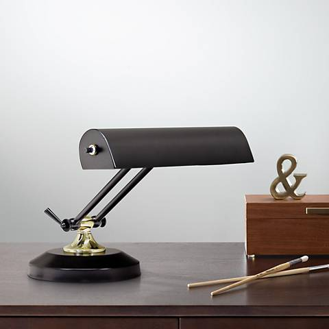 "House of Troy Brass 8""High Accent Black Piano Desk Lamp"