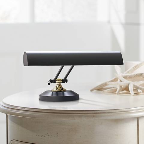"House of Troy Black with Brass 8""H 2-Light Piano Desk Lamp"