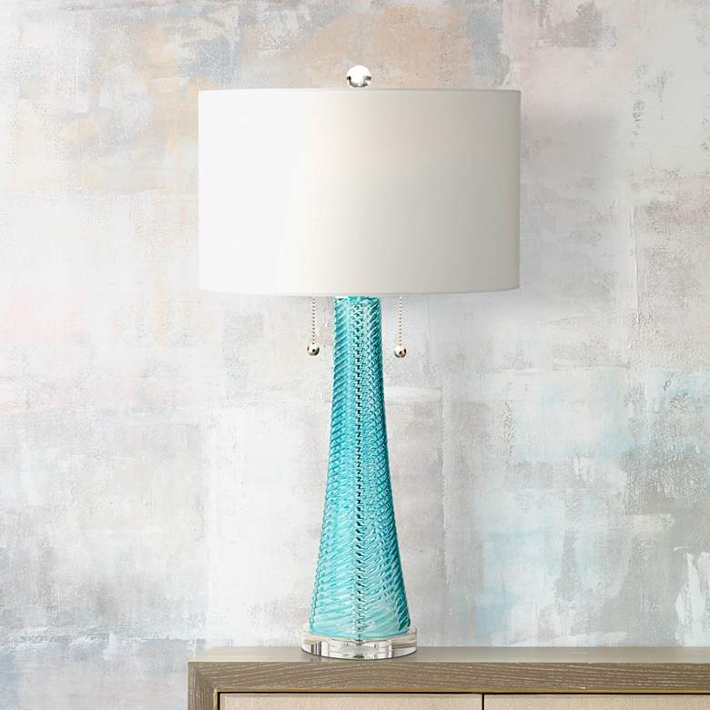 Possini Euro Miriam Aqua Blue Glass Table Lamp