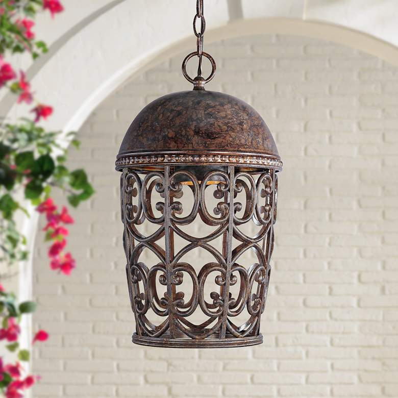 "Amherst 17 1/2""H Burnt Umber Outdoor Hanging Light"