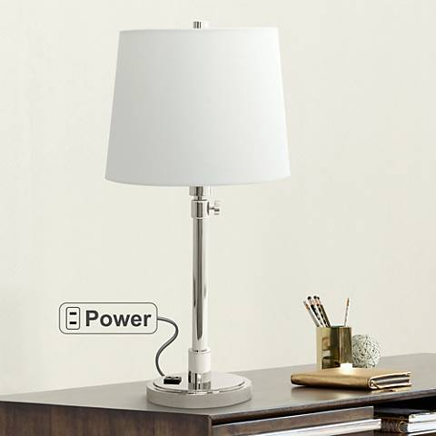 House of Troy Townhouse Nickel Desk Lamp with Outlet