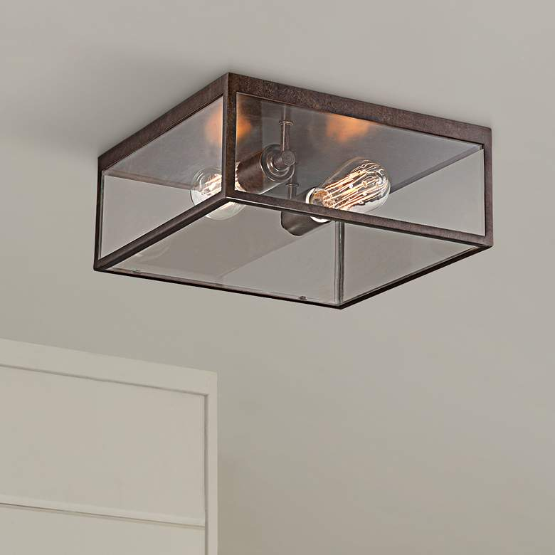 "Montesidro 12""W Bronze and Glass Outdoor Ceiling Light"