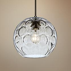"Besa Bombay 9 3/4"" Wide Clear Glass Bronze Mini Pendant"