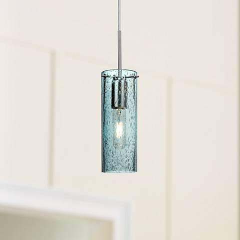 "Besa Juni 10 3 1/2""W Blue Glass Satin Nickel Mini Pendant"