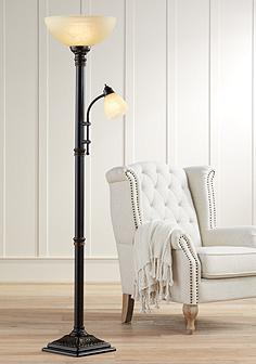Garver Bronze Torchiere Floor Lamp With Reader Arm