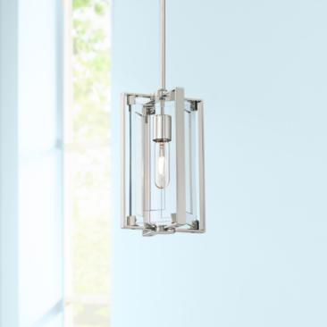 "Crystal Clear 5 1/2""W Polished Nickel Mini Pendant"