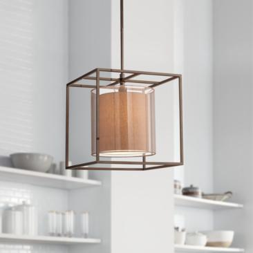 "Conroe Oil-Rubbed Bronze Metal Cube 18"" Wide Pendant Light"