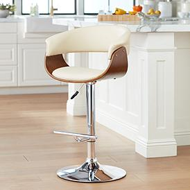 Francesca Cream Faux Leather Adjustable Swivel Bar Stool