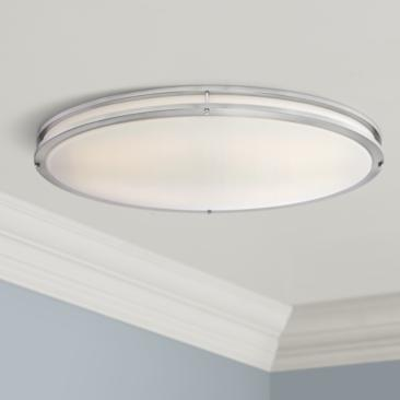 "Leeds Satin Nickel 32 1/2"" Wide LED Ceiling Light"