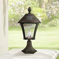 Solar post light outdoor lighting lamps plus baytown black 19 mozeypictures Choice Image
