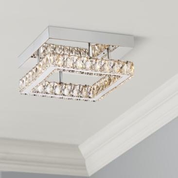 "Patricia Crystal Square 12"" Wide Chrome LED Ceiling Light"