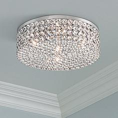 Crystal flush mount lighting lamps plus velie 12 wide round crystal ceiling light mozeypictures Choice Image