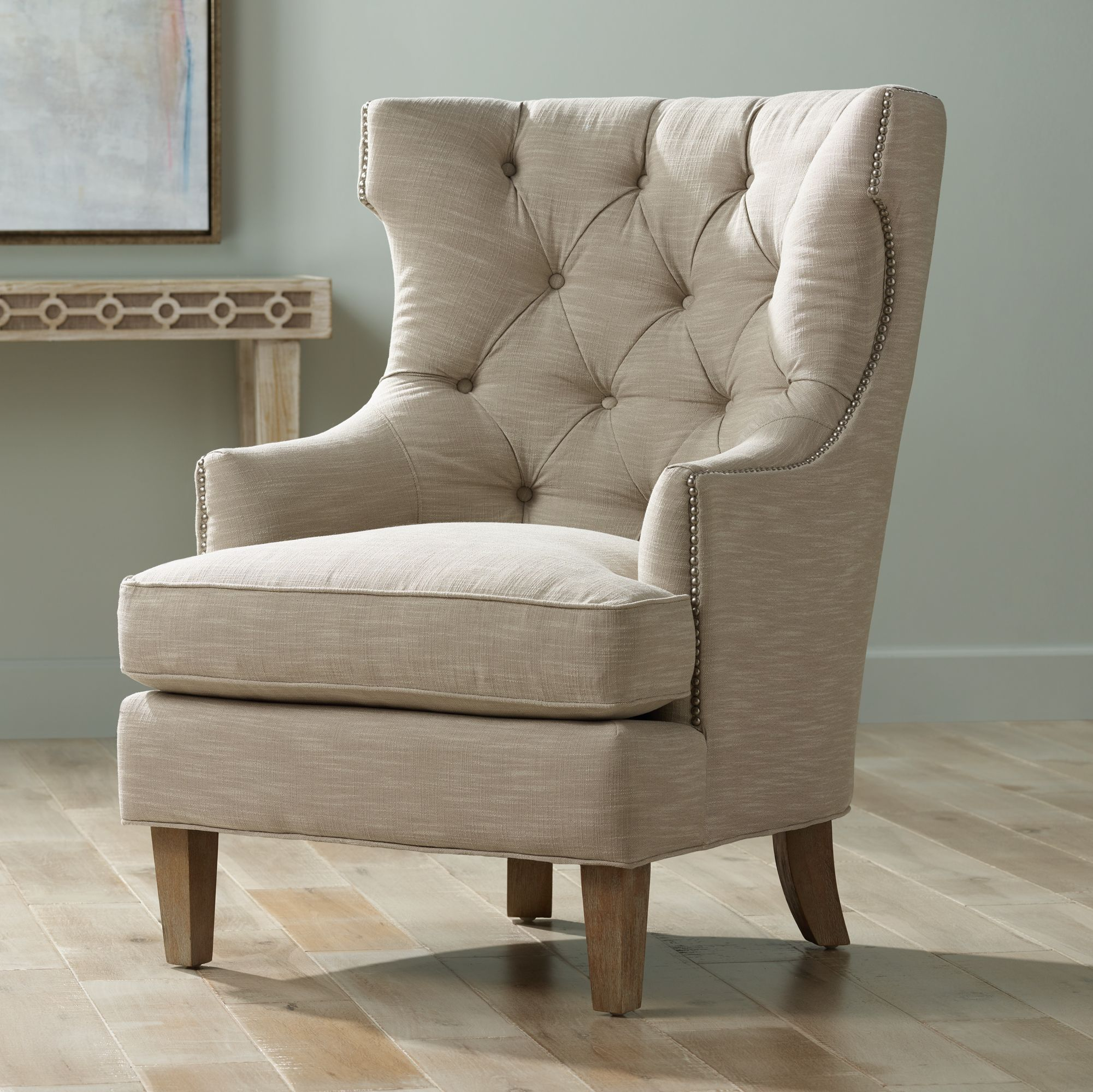 Reese Studio Oatmeal High Back Accent Chair