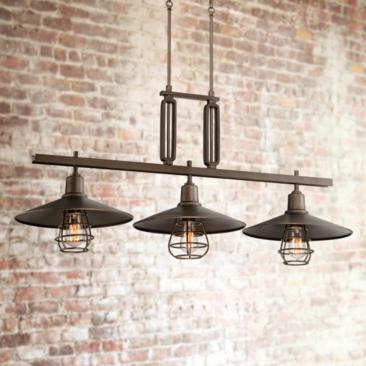 "Garryton Industrial 44""W Oil-Rubbed Bronze Linear Chandelier"