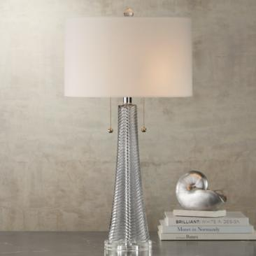Possini Euro Miriam Gray Glass Table Lamp