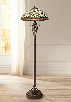 Tiffany floor lamps lamps plus canada leaf and vine ii tiffany style floor lamp aloadofball Choice Image