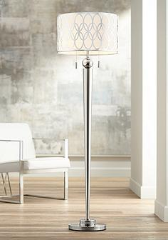 Floor lamps traditional to contemporary lamps lamps plus possini euro spyra brushed steel metal floor lamp aloadofball Image collections