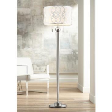 Possini Euro Spyra Brushed Nickel Metal Floor Lamp