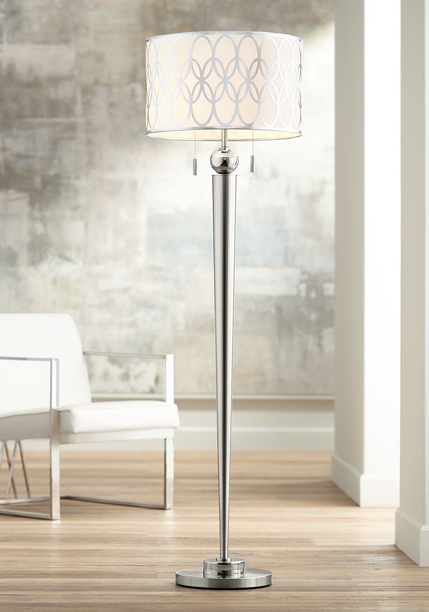 Possini Euro Spyra Brushed Steel Metal Floor Lamp