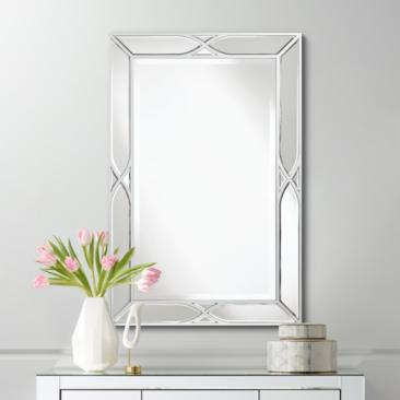 "Tryon Silver 25"" x 38"" Beveled Wall Mirror"