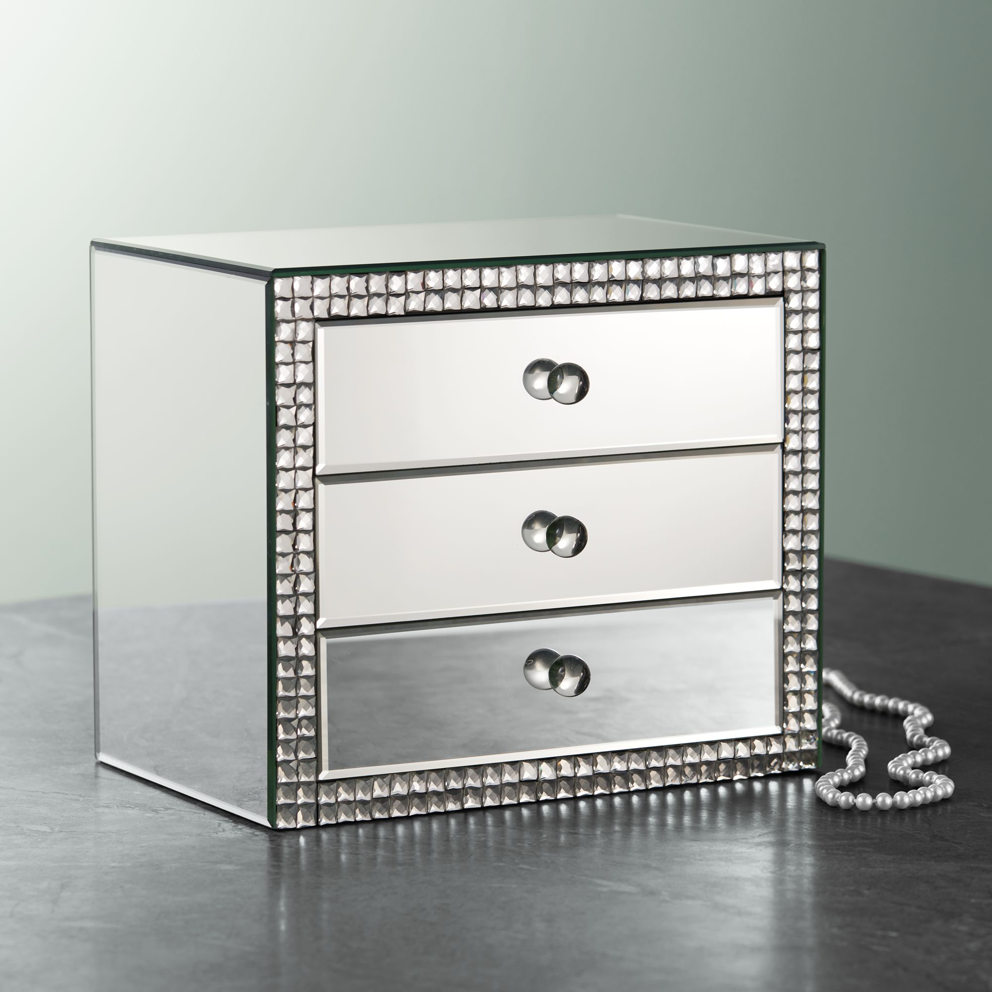 Lorain 3 Drawer Mirrored Jewelry Box
