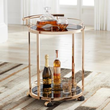 "Treviso 19"" Wide Black Glass and Gold Round Serving Bar Cart"