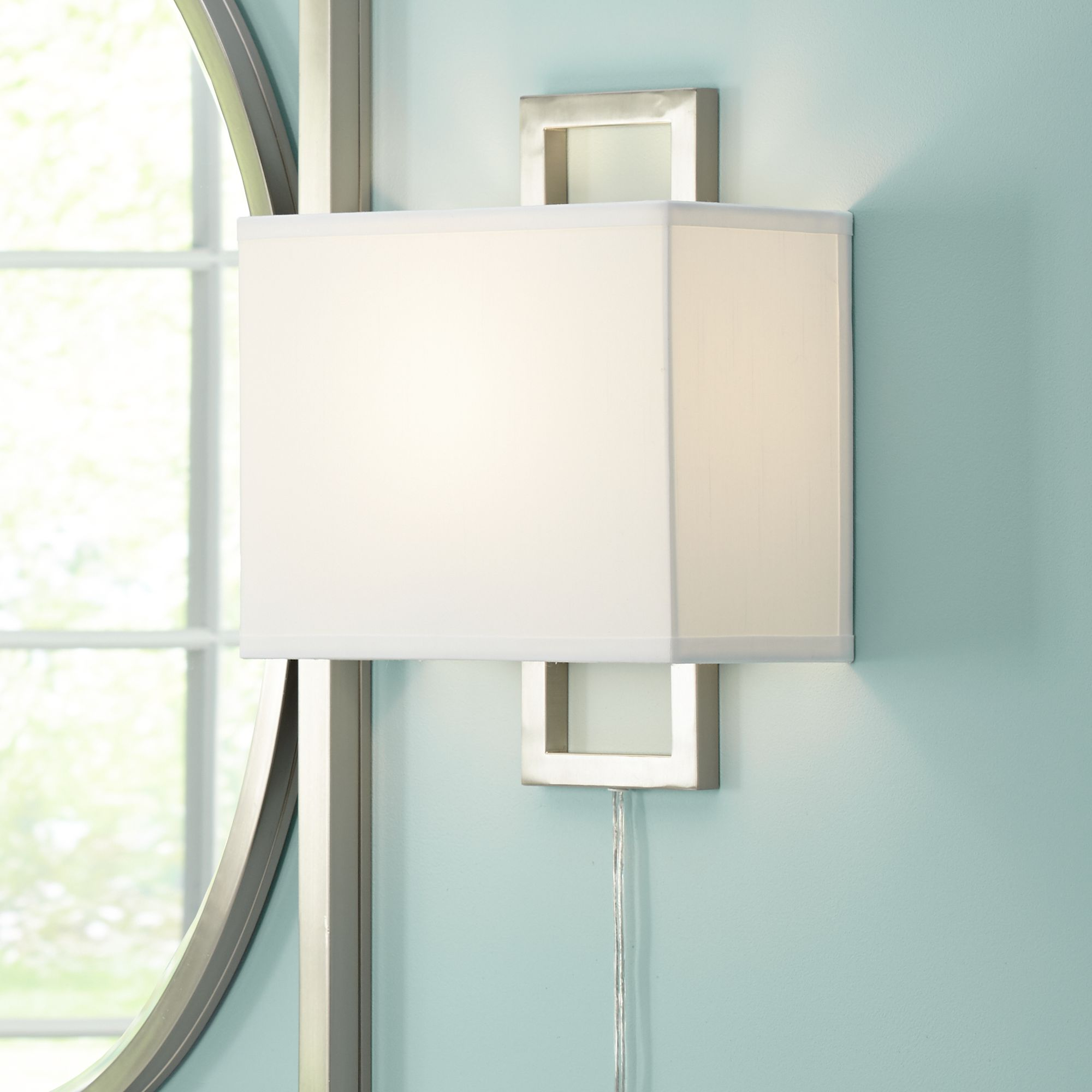 Awesome Aundria Rectangular Brushed Steel Plug In Wall Lamp