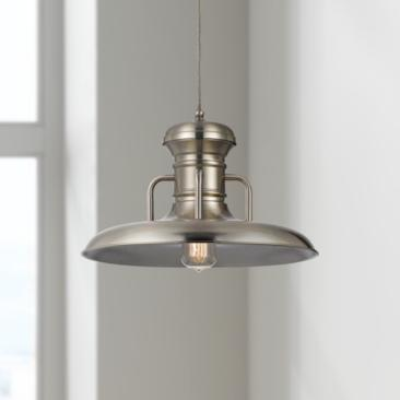 "Winterset 16"" Wide Brushed Steel Pendant Light"