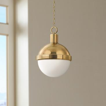 "Hudson Valley Lambert 9 1/2"" Wide Aged Brass Mini Pendant"