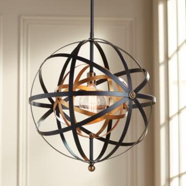 "Uttermost Rondure 23"" Wide Bronze and Brass Pendant"