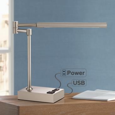 Slimline Swing Arm LED Desk Lamp with Outlet and USB Port