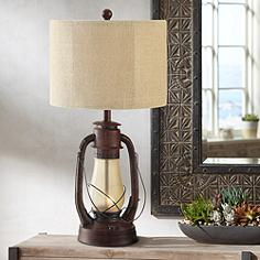 Crestview collection table lamps lamps plus crestview rustic red lantern table lamp with nightlight mozeypictures Image collections