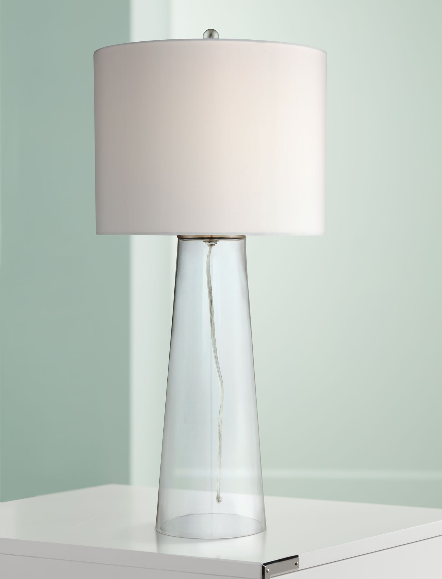 Marcus Clear Glass Tapered Column Table Lamp